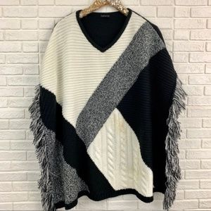 Topshop colorblock fringe chunky poncho sweater